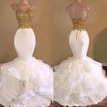 White Prom Dresses Mermaid Spaghetti Straps Lace Beaded Backless Party Maxys Long Prom Gown Evening Dresses Robe De Soiree