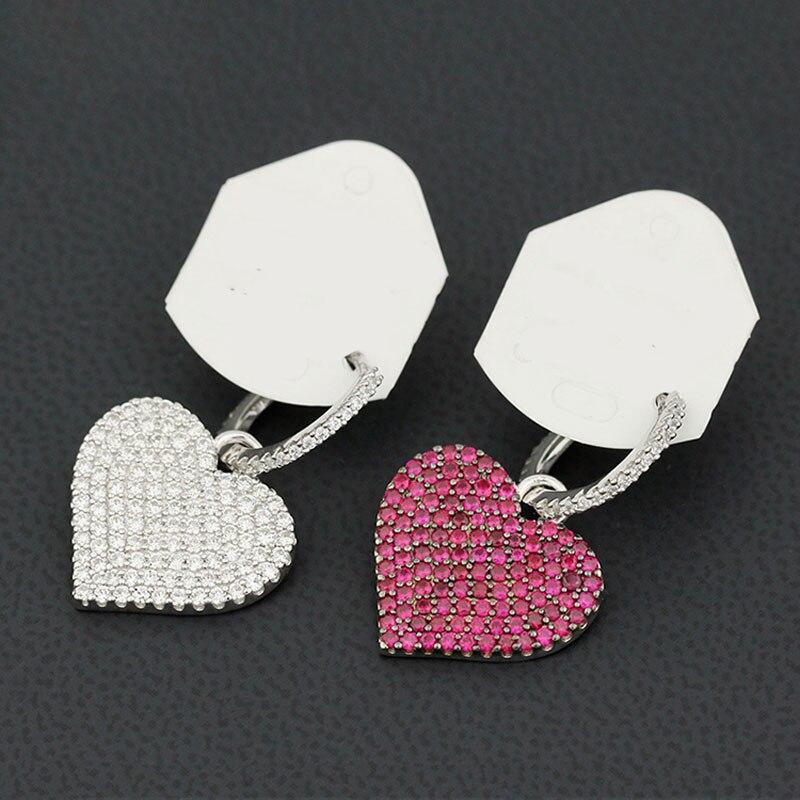 2019 nueva moda circonita asimétrico púrpura corazón boda gota pendientes joyería de moda marca de lujo pendientes de Monaco de moda 1