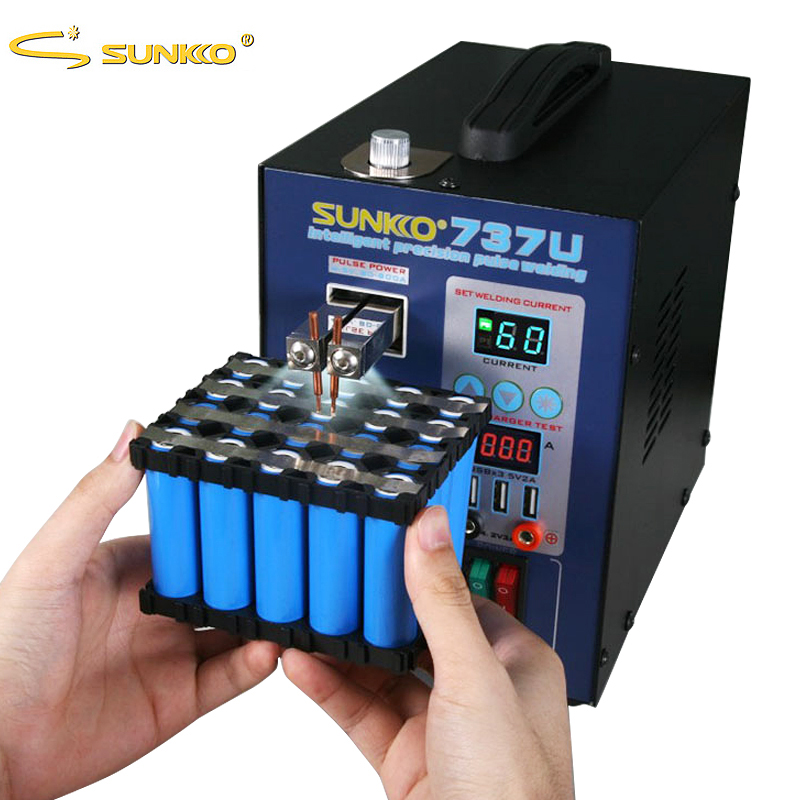 SUNKKO Battery spot welding machine 737U 2.8kw LED lamp pulse spot welding machine battery spot welding USB test charging machin