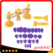 Car Dent Repair Tool Yellow PDR Bridge Puller Kit Hand Tool Set With 24pcs PDR Glue Tabs Auto Body Paintless Dent Removal Tool