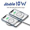 Беспроводное зарядное устройство 2 в 1 20 Вт для iPhone 11 Pro XR XS X 8 AirPods Qi Double 10 Вт  быстрая зарядная станция для Samsung S10 S9