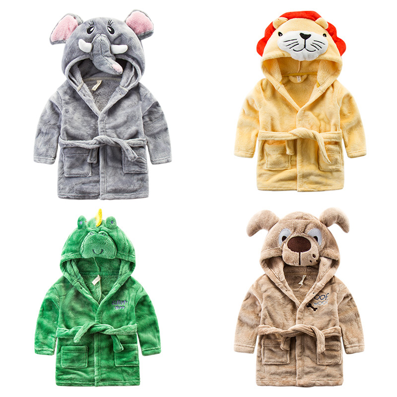 Animal cartoon kid robe Towel wrap Bathrobe kids beach towels with hood Boys clothing girls kimonos Super soft flannel