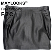 2018 New Arrival New Maylooks Women Plus Size Leather Skirt Genuine Knee-length Skirts Solid Sheepskin Lady Straight For Le020