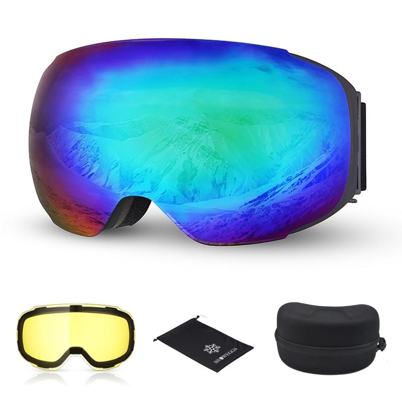 Lunettes de Ski neige double couche jour nuit lentille magnétique Ski UV400 Snowboard lunettes hommes femmes Anti-buée lunettes de Ski détachable