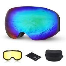 7b606c3a445 Ski Goggles Snow Dual Layers Day Night Lens Magnetic Skiing UV400 Snowboard  Eyewear Men Women Anti