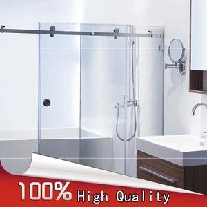 Image 1 - Wysokiej jakości 1 zestaw ze stali nierdzewnej bezramowe łazienka prysznic okucia do drzwi przesuwnych zestaw sprzętu kabiny bez Bar lub szklane drzwi