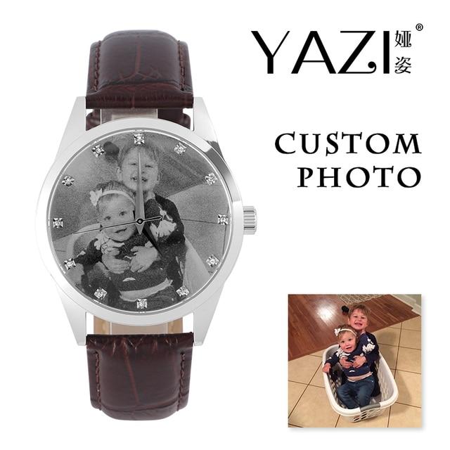 YAZI Unique Custom Photo Watch Zircon Scale Stainless Steel Watch Genuine Leathe