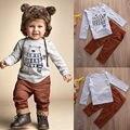 2 pcs Da Criança Do Bebê Meninos Crianças Roupas Definir Urso Tops T-shirt + Calças compridas de Algodão Animais Bonitos Dos Desenhos Animados Outfits Boy Roupas conjunto