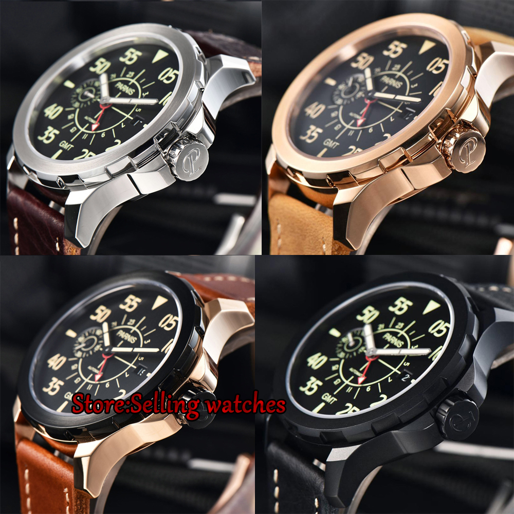 Parnis 44mm Casual Mechanical Watch Newest Tourbillon GMT Automatic Watch Waterproof Mechanical Wrist Watch цена и фото