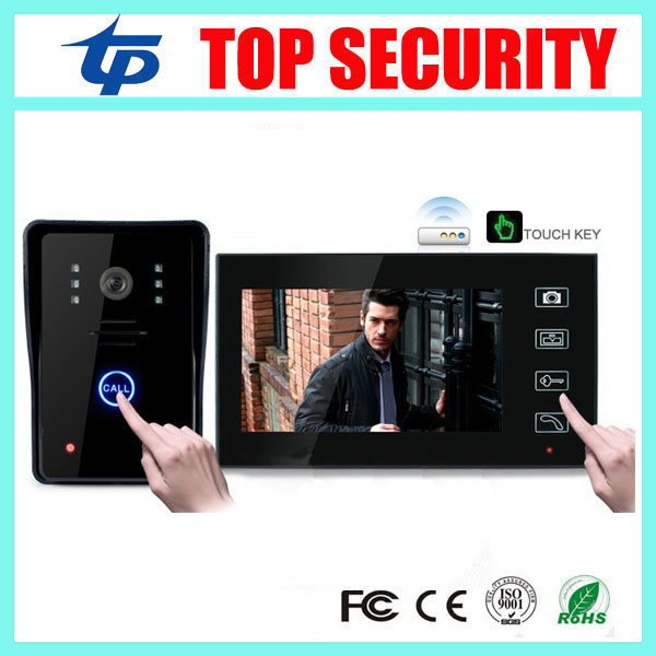 Good quality wireless 7 inch color video door phone wireless door bell system door security touch screen 7 video door phone wireless service call bell system popular in restaurant ce passed 433 92mhz full equipment watch pager 1 watch 7 call button