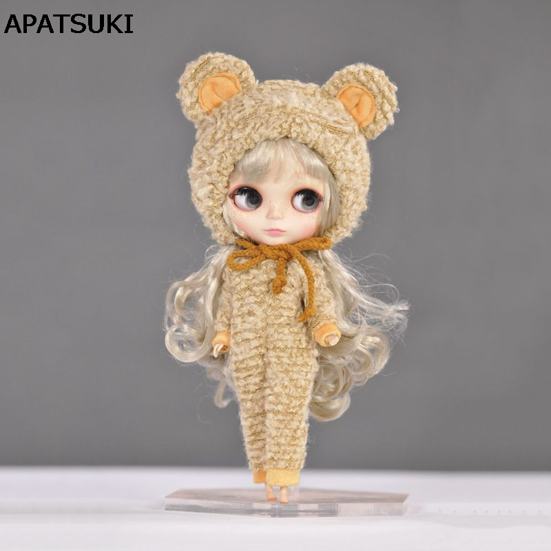 1set Cute Bear Suit with Hat Clothes for Blythe Doll Outfits 1/6 Doll Accessories For Blyth Doll Present Gift for Christmas fashion 7 sets clothes outfits suitable for 18 american girl doll colorful tops pants with hat dress pajamas christmas gift