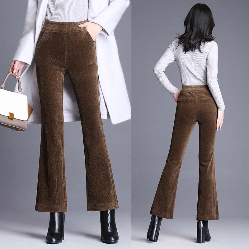 Female corduroy Flare pants new Office Lady high waist flare pants autumn winter Elastic waist Slim corduroy pants woman