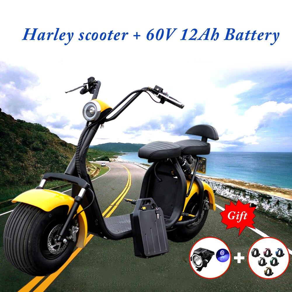 Motos électriques Scrooser Citycoco Scooter 60 V 1000 W Harley Haverboard gros pneu moto voitures électriques avec batterie 12Ah