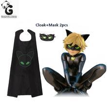 Ladybug Cat Noir Halloween Christmas Costume For Boys Adrien Marinette Cosplay Kids Party Clothes Mask Superman Cloak