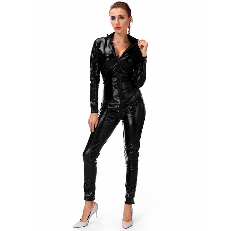 Florata Womens Sexy Faux Leather Fetish Catsuit Night Clubwear Sexy Gothic Costume -5506