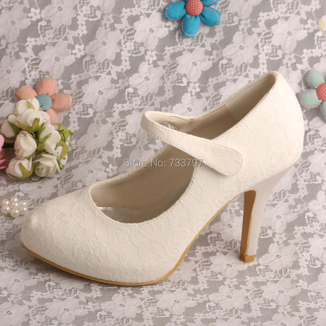 173568a6a813 Wedopus MW337 Women Mary Janes Ivory Lace High Heel Prom Court Shoes Closed  Toe