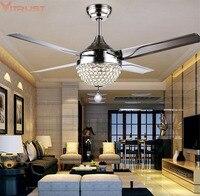 Потолочный вентилятор огни вентиляторы освещения кристалл обеденный Гостиная Спальня Chrome современный светодиодный вентилятор LampsRemote конт