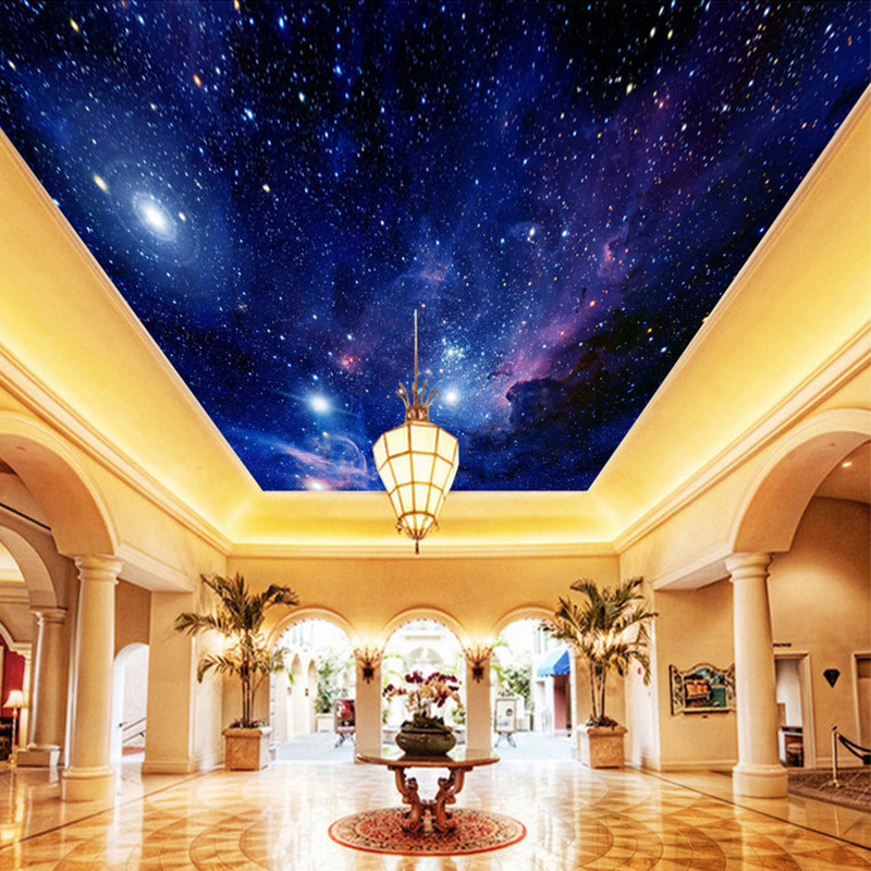 Custom Photo Wallpaper Starry Sky Night View Ceiling Mural