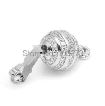 Avec fermoir boule en zirconium, 10mm 925 argent bricolage collier en cristal de perle naturelle de haute qualité, fermoir bracelet. -L59B - 2