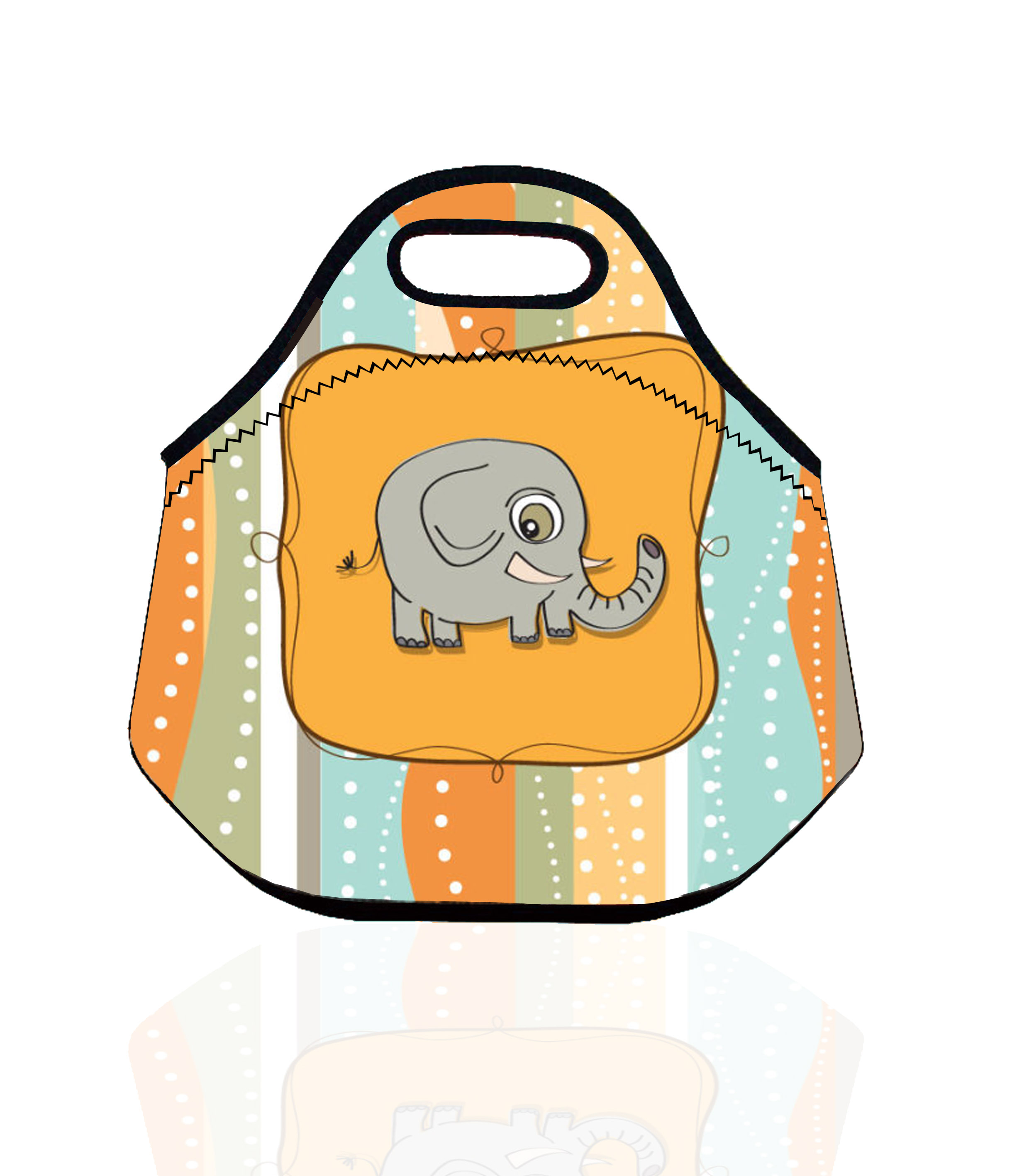 Cartoon Elephant Lunch Bag for Kids & Women Neoprene Thermal Insulated Lunch Bag Animal Lunch Cooler Bags Tote lunch Box Bag
