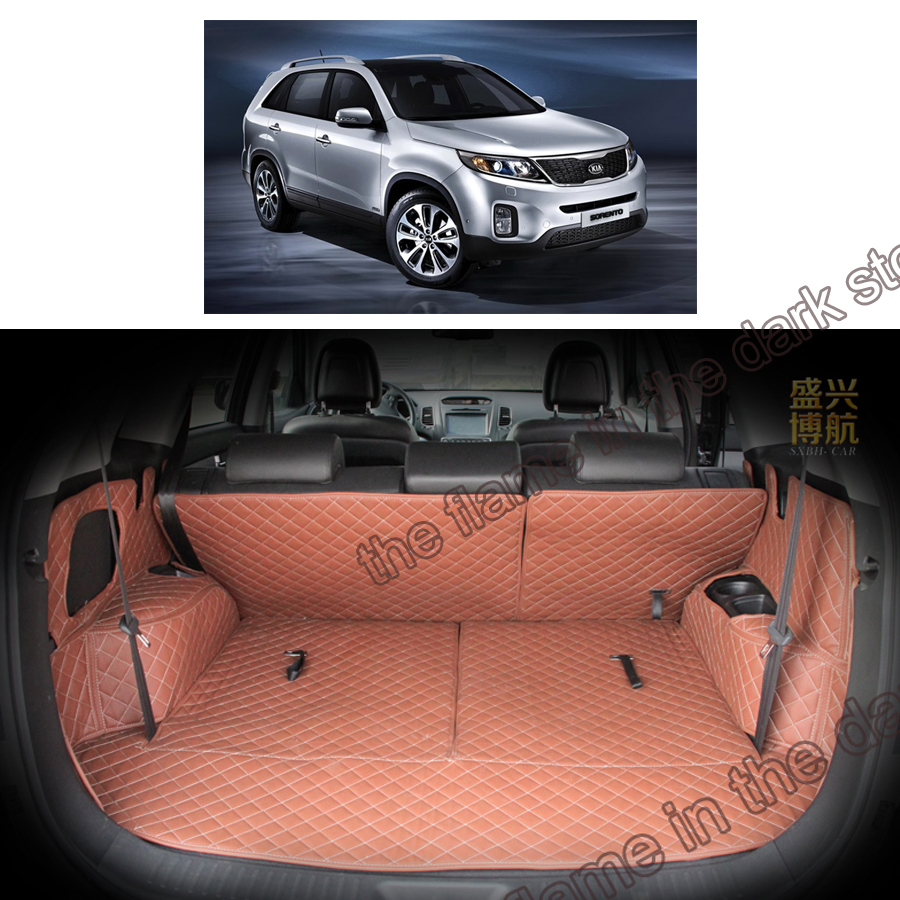 custom fit  pu leather car trunk mat cargo mat for kia sorento 2009 2010 2011 2012 2013 2014 2015 2nd generation 3d cargo liner high quality for kia sorento 2009 2010 2011 2012 rear trunk security shield cargo cover black