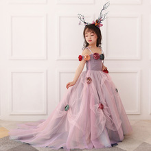 2018 Spring and Summer New Childrens Dress Tail Girl Model Walk Show Performance Costumes