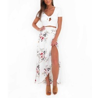 Skirts Womens Floral Sexy Split Up Maxi Half Skirt New Vintage Beach Long Boho Skirt S7