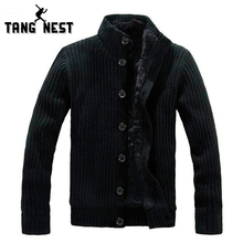 TANGNEST 2017 New Thick Men Warm Sweater Cardigan With Fur Good Quality Popular Soft Sweater Men Functional Comfortable MWK022