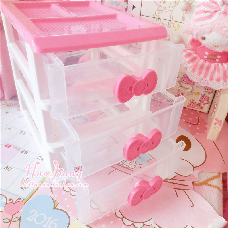 Cute Desktop Storage Boxes Cosmetic Storage Drawer Jewelry Storage Boxe Desktop Organizer Makeup Storage Case привет котен