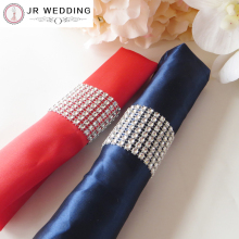 Free shipping By E-package 100PCS About 4cm W 15cm L Rhinestone Bow Covers 8 Row Silver For Wedding Chair Sash Napkin Rings(China)