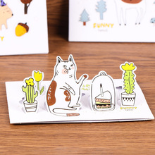 2 pcs/lot Cute Kawaii Animal Cat 3D Folding Envelope Paper Envelope For Postcard Kids Gift School Materials Free Shipping(China)