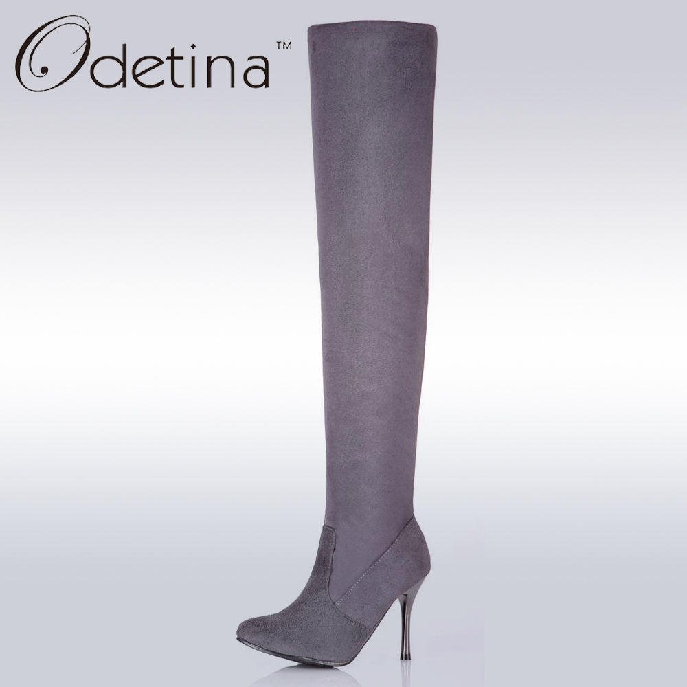 odetina high heel the knee boots large size