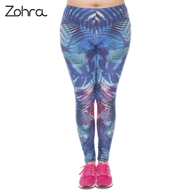 Zohra New Large Size Leggings Tropical Leaves Blue Printed High Waist Leggins Plus Size Trousers Stretch Pants For Plump Women