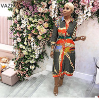 VAZN 2019 Spring Hot Fashion Famous Brand Women Print 2 Color Lace Up Long Dress Sexy Notched Full Sleeve Hollow Out Dress JN001