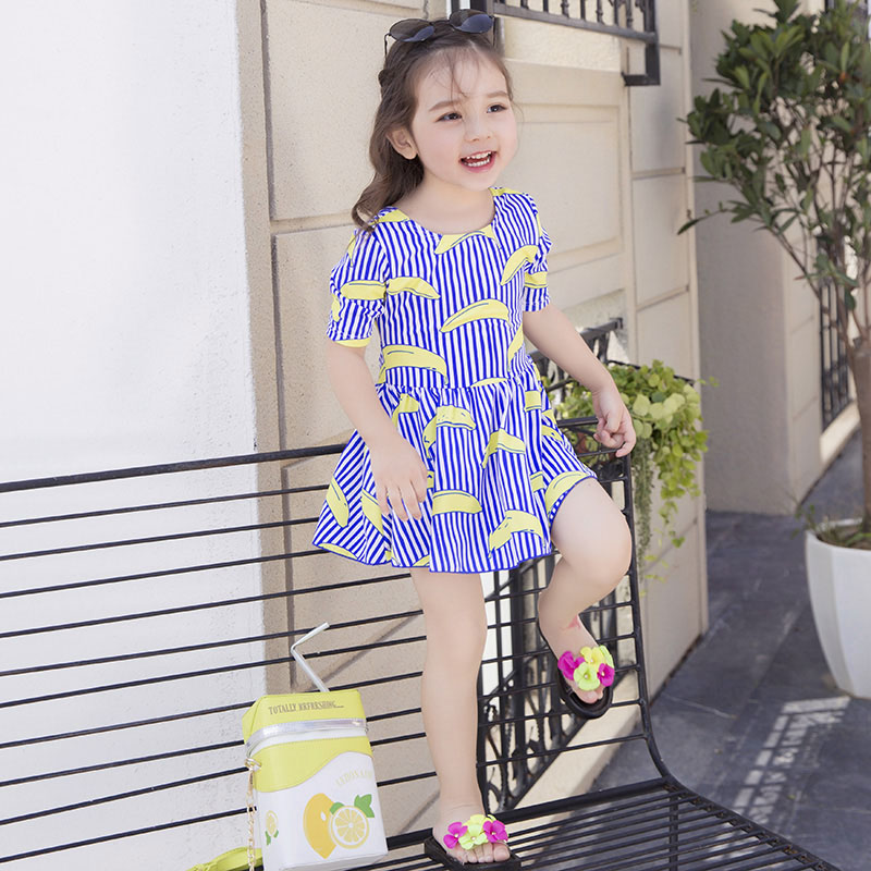 New summer baby girls swimwear one piece cute blue swim suit kids 3-9Y banana striped sw ...