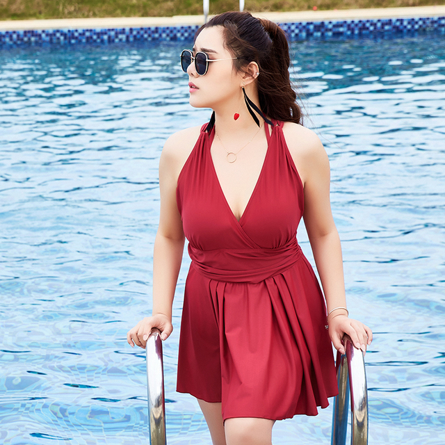 0c0dbd5fde2 2017 One Piece Swimdress Mature Plus Size Women Skirt V-Neck Swimwear Push  Up Bodysuit Sexy Bathing Suits Large Cup Swimsuit