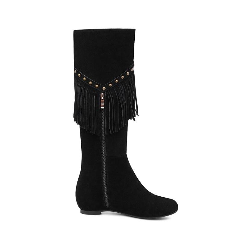 2018 Hauteur black Zvq Mode Nouvelle Vache Daim Hiver Med Rivets Chaussures Concise Bout En Femmes Métal Croissante Apricot Fringe Bottes Pour Rond Hautes qtxrYOBt