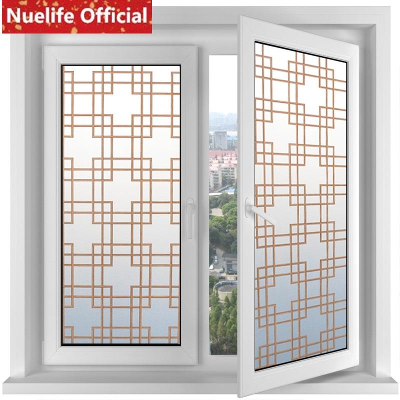90x200 cm rétro marron plaid motif verre dépoli film salle de bains cuisine salon chambre boutique balcon verre porte fenêtre film A