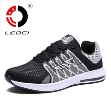 LEOCI Flywire Men Running Shoes Shock Absorption Runner Sneakers Ligh Weight Chaussure Sport Shoes Zapatillas Deportivas Hombre