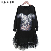 SUPER QUALITY Manual Beading Horse Pattern Women S Sweatshirts Fashion Lace Mesh Patchwork Female S Trendy