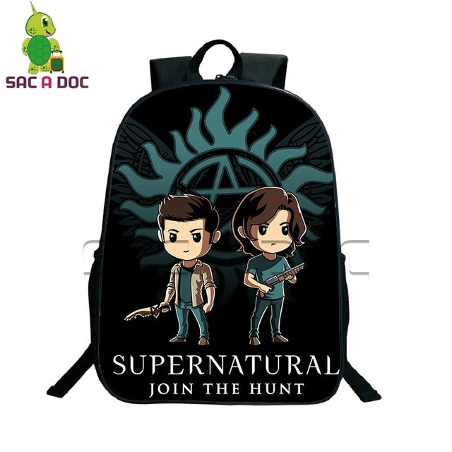 S Supernatural Backpack Boys Chibi Sam Dean Castiel Book Bag Children School Bags Women Men