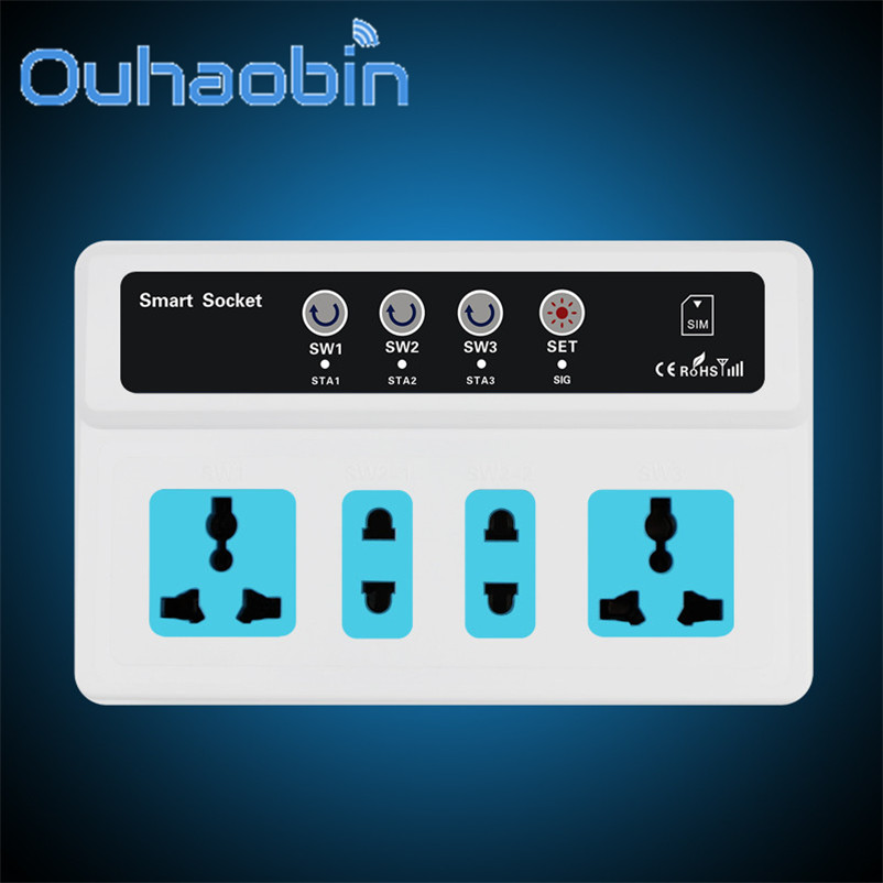 Ouhaobin Wireless PDA GSM SIM Remote Control 4 Socket Power Outlet Smart Switch Gift Oct 18 Dropship sapsan gsm pro 4 эконом gsm сигнализация