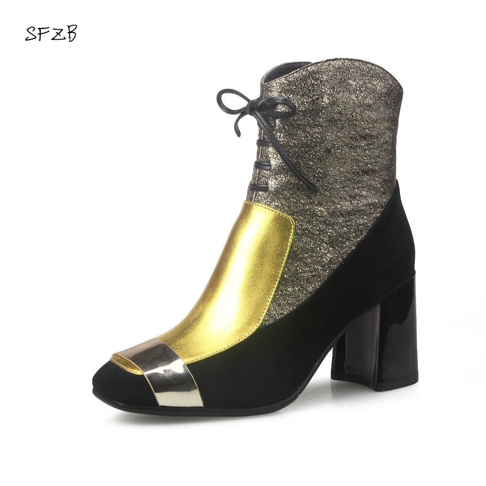 SFZB NEW square toe lace-up genuine leather solid nude women ankle boots thick heel brand women shoes causal motorcycles boot sfzb new square toe lace up genuine leather solid nude women ankle boots thick heel brand women shoes causal motorcycles boot