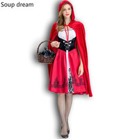 Soup dream Halloween Costumes For Women Sexy Cosplay Little Red Riding Hood Fantasy Game Uniforms Fancy Dress Outfit S xL