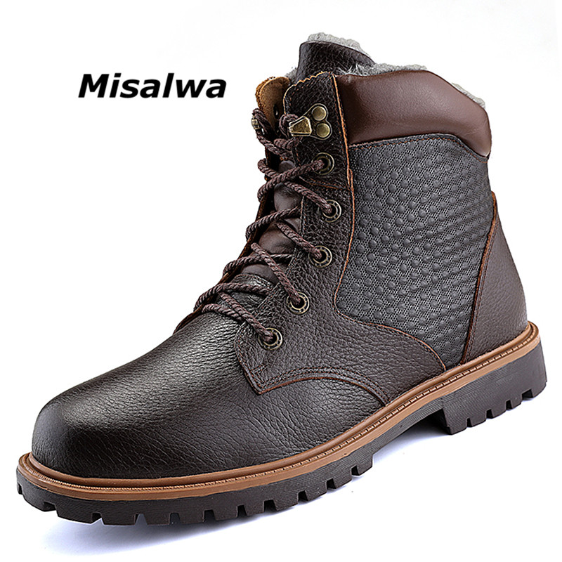 Misalwa Men's Work Boots Steel Toe Water Resistant Leather Shoes Men Multifunction Motorcycle Ankle Boot Black Hikin Safety Shoe men s construction steel toe boots genuine leather short engineer insulated and water resistant wheat nubuck shoes sizes 7 13