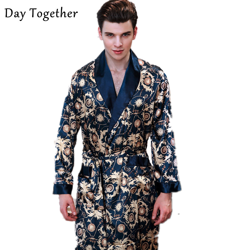 2019 Luxury Satin Robes Male Kimono Dressing Gown Men's Long Sleeve Silk Print Bathrobe Leisure Sleepwear Home Clothes Men