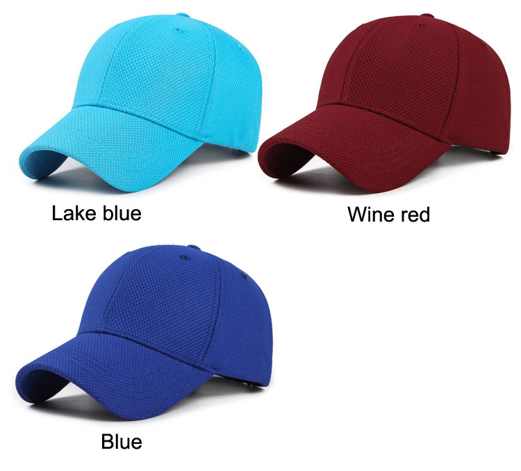 Solid Cord Colors Adjustable Baseball Cap - Lake Blue Cap, Wine Red and Blue Cap