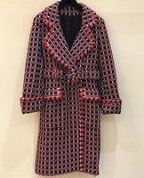 Vintage Coat Woman Winter 2018 Long Sleeve Plaid Coat Plus Size Winter Coat Women Wool Blends