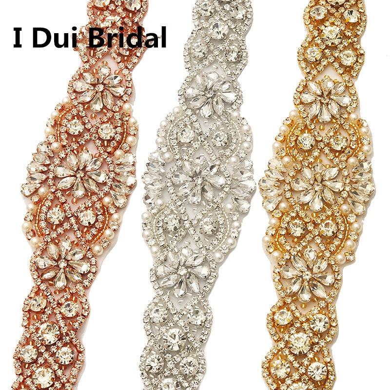 Bridal Sash Rhinestone Applique Crystal Pearl Rhinestone Belt Trim - Үйлену керек-жарақтары - фото 3