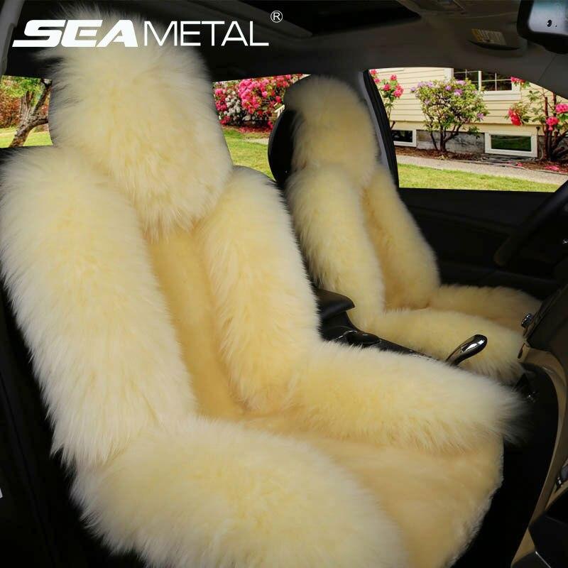 Car Seat Covers Winter Long Wool Universal Warm Faux Fur Rear Seat Cushion Natural Cushion Cover